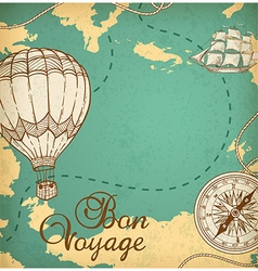 Vintage map with sailing vessel and balloon air vector