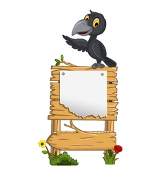 cartoon crow with blank board vector image