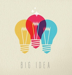 Big idea power concept color design of light bulb vector