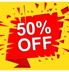Big sale poster with 50 PERCENT OFF text vector image
