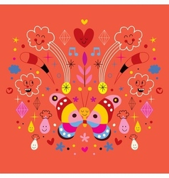Butterfly clouds flowers diamonds raindrops vector
