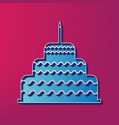 Cake with candle sign blue 3d printed vector