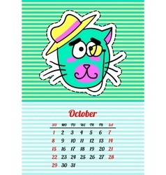 Calendar 2017 with cats october in cartoon 80s vector