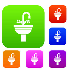 ceramic sink set collection vector image