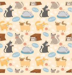 Cute cats character different pose seamless vector