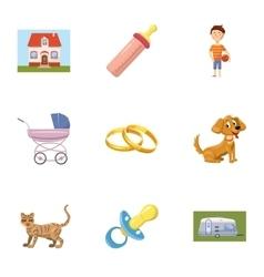 Family child icons set cartoon style vector