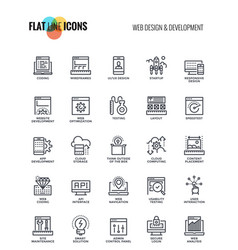 Flat line icons design-web design and development vector