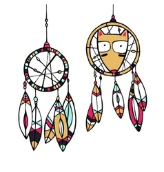 Fox and dream catcher vector image vector image