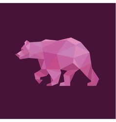 Grizzly bear polygons red trend style design vector