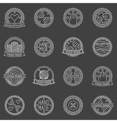 Hand made outline badges vector image