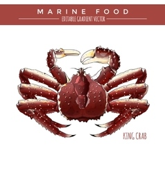 King crab marine food vector