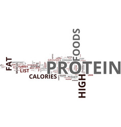 List of high protein foods text background word vector