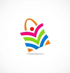 People shopping bag color logo vector