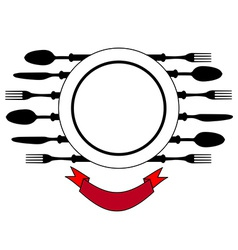 Plate with cutlery design place setting vector image vector image