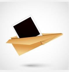polaroid paper plane vector image vector image