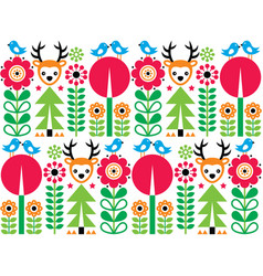 scandinavian folk art pattern with flowers vector image vector image