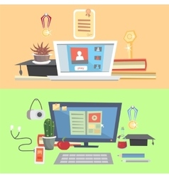 Set education online education online learning vector image