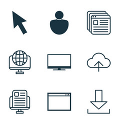 Set of 9 internet icons includes display mouse vector