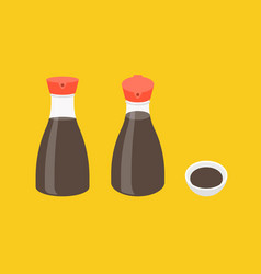 Soy sauce bottle icons set vector