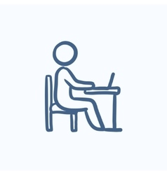 Student working on laptop sketch icon vector image vector image