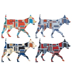 Trotting dog mosaics vector