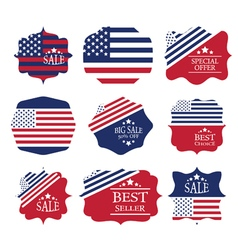 Vintage sale label set design elements in american vector