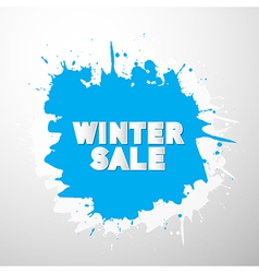 Winter sale title on blue splash blot vector