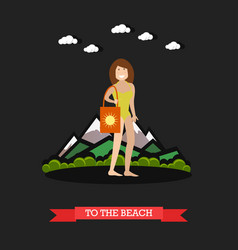 woman in swimsuit in flat vector image vector image
