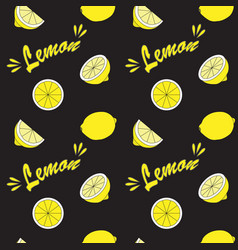 Yellow lemon on black field vector