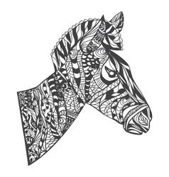 Zentangle style zebra head vector