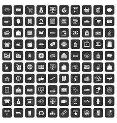 100 shopping icons set black vector