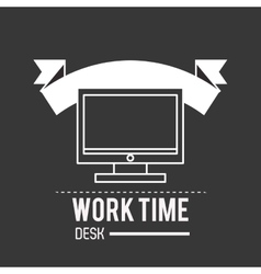 Computer monitor and office related items icon vector