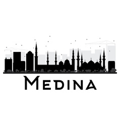 Medina city skyline black and white silhouette vector