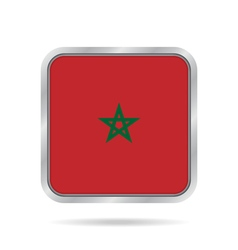 Flag of morocco shiny metallic gray square button vector