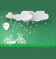 Paper art of bicycle in green garden with rainy vector
