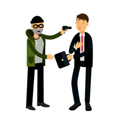 Masked thief character stealing briefcase from vector