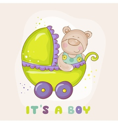 Baby Bear in Carriage - for Baby Shower vector image