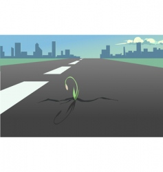 Flower in the asphalt road vector