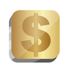 3d button dollar currency symbol vector