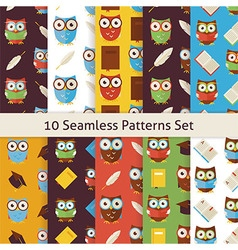 School and education owls flat seamless background vector