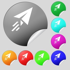 Paper airplane icon sign set of eight multi vector