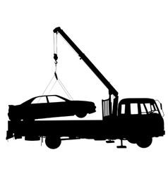 Black silhouette car towing truck vector