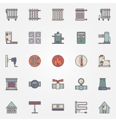 Heating flat icons vector