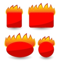 Set of burning paper red stickers vector