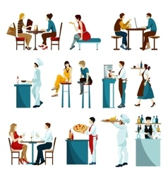Restaurant visitors flat icons set vector