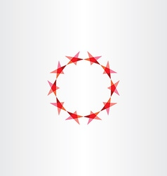 red stars icon background circle frame vector image