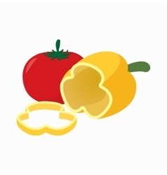 Tomato and pepper icon cartoon style vector