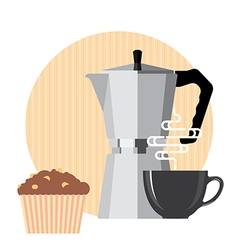 Coffee cup coffee machine and cake vector