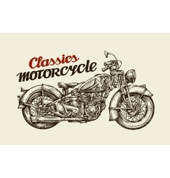 Classics motorcycle hand drawn vintage motorbike vector