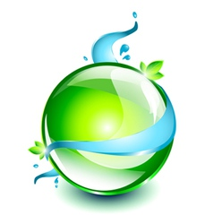 Abstract green sphere with water element vector image vector image